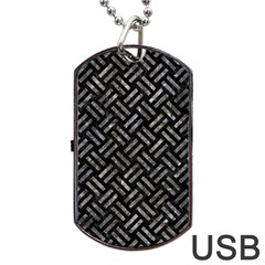 Woven2 Black Marble & Gray Stone Dog Tag Usb Flash (one Side)