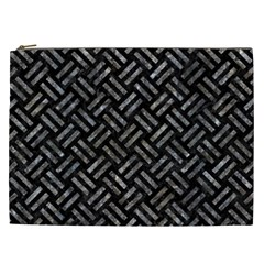 Woven2 Black Marble & Gray Stone Cosmetic Bag (xxl)