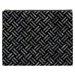 Woven2 Black Marble & Gray Stone Cosmetic Bag (xxxl)