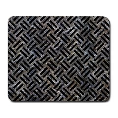 Woven2 Black Marble & Gray Stone (r) Large Mousepads