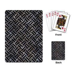 Woven2 Black Marble & Gray Stone (r) Playing Card