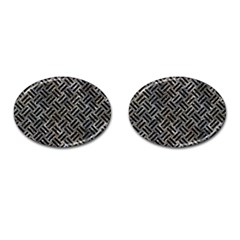 Woven2 Black Marble & Gray Stone (r) Cufflinks (oval)