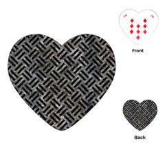 Woven2 Black Marble & Gray Stone (r) Playing Cards (heart)