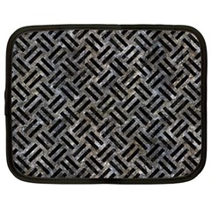 Woven2 Black Marble & Gray Stone (r) Netbook Case (large)