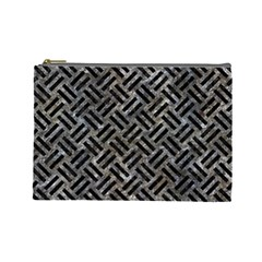 Woven2 Black Marble & Gray Stone (r) Cosmetic Bag (large)