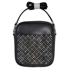 Woven2 Black Marble & Gray Stone (r) Girls Sling Bags