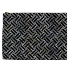 Woven2 Black Marble & Gray Stone (r) Cosmetic Bag (xxl)