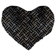 Woven2 Black Marble & Gray Stone (r) Large 19  Premium Heart Shape Cushions