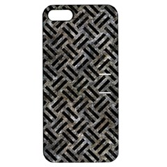 Woven2 Black Marble & Gray Stone (r) Apple Iphone 5 Hardshell Case With Stand