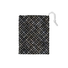 Woven2 Black Marble & Gray Stone (r) Drawstring Pouches (small)