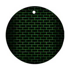 Brick1 Black Marble & Green Brushed Metal Ornament (round)