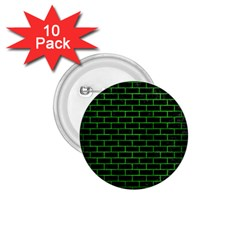 Brick1 Black Marble & Green Brushed Metal 1 75  Buttons (10 Pack)