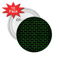 Brick1 Black Marble & Green Brushed Metal 2 25  Buttons (10 Pack)