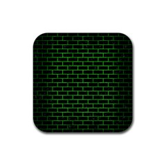 Brick1 Black Marble & Green Brushed Metal Rubber Square Coaster (4 Pack)