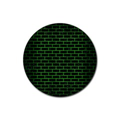 Brick1 Black Marble & Green Brushed Metal Rubber Coaster (round)
