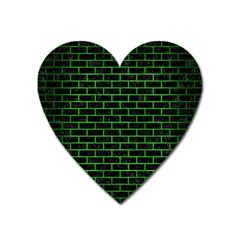 Brick1 Black Marble & Green Brushed Metal Heart Magnet