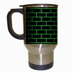 Brick1 Black Marble & Green Brushed Metal Travel Mugs (white)