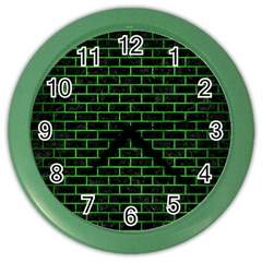 Brick1 Black Marble & Green Brushed Metal Color Wall Clocks