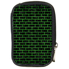 Brick1 Black Marble & Green Brushed Metal Compact Camera Cases