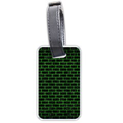 Brick1 Black Marble & Green Brushed Metal Luggage Tags (two Sides)