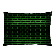 Brick1 Black Marble & Green Brushed Metal Pillow Case (two Sides)