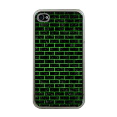 Brick1 Black Marble & Green Brushed Metal Apple Iphone 4 Case (clear)