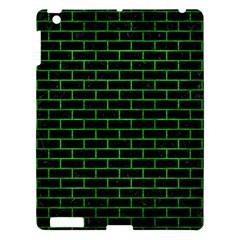 Brick1 Black Marble & Green Brushed Metal Apple Ipad 3/4 Hardshell Case