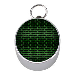 Brick1 Black Marble & Green Brushed Metal Mini Silver Compasses