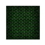 BRICK1 BLACK MARBLE & GREEN BRUSHED METAL Small Satin Scarf (Square) Front