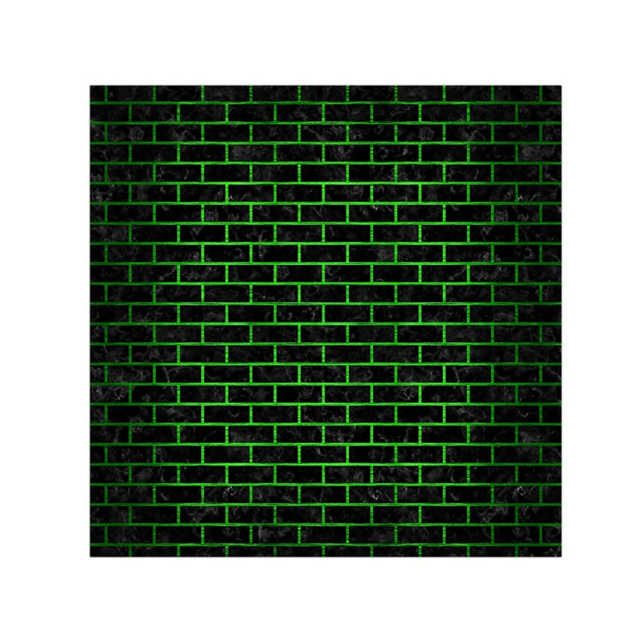 BRICK1 BLACK MARBLE & GREEN BRUSHED METAL Small Satin Scarf (Square)