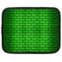 Brick1 Black Marble & Green Brushed Metal (r) Netbook Case (xxl)