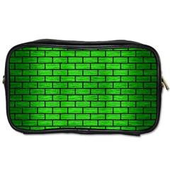 Brick1 Black Marble & Green Brushed Metal (r) Toiletries Bags