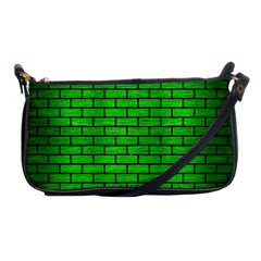 Brick1 Black Marble & Green Brushed Metal (r) Shoulder Clutch Bags