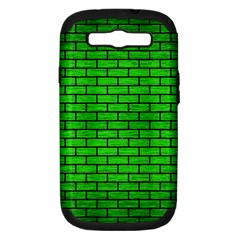 Brick1 Black Marble & Green Brushed Metal (r) Samsung Galaxy S Iii Hardshell Case (pc+silicone)