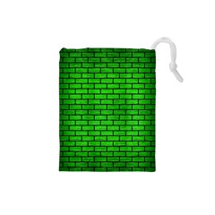Brick1 Black Marble & Green Brushed Metal (r) Drawstring Pouches (small)