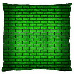 Brick1 Black Marble & Green Brushed Metal (r) Large Flano Cushion Case (two Sides)