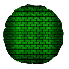 Brick1 Black Marble & Green Brushed Metal (r) Large 18  Premium Flano Round Cushions