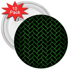Brick2 Black Marble & Green Brushed Metal 3  Buttons (10 Pack)