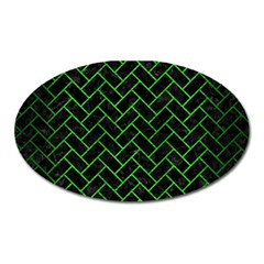Brick2 Black Marble & Green Brushed Metal Oval Magnet