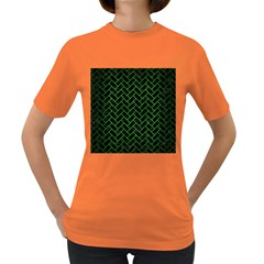 Brick2 Black Marble & Green Brushed Metal Women s Dark T Shirt