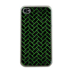 Brick2 Black Marble & Green Brushed Metal Apple Iphone 4 Case (clear)