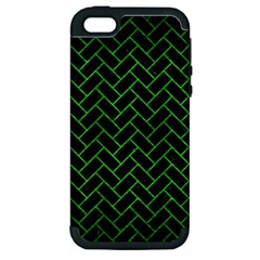 Brick2 Black Marble & Green Brushed Metal Apple Iphone 5 Hardshell Case (pc+silicone)