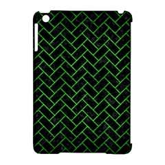 Brick2 Black Marble & Green Brushed Metal Apple Ipad Mini Hardshell Case (compatible With Smart Cover)