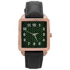Brick2 Black Marble & Green Brushed Metal Rose Gold Leather Watch
