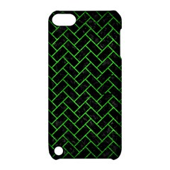 Brick2 Black Marble & Green Brushed Metal Apple Ipod Touch 5 Hardshell Case With Stand