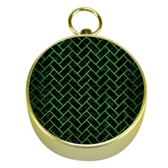 Brick2 Black Marble & Green Brushed Metal Gold Compasses