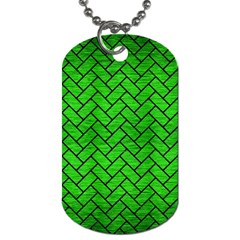 Brick2 Black Marble & Green Brushed Metal (r) Dog Tag (one Side)