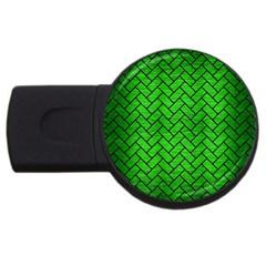 Brick2 Black Marble & Green Brushed Metal (r) Usb Flash Drive Round (4 Gb)