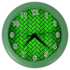 Brick2 Black Marble & Green Brushed Metal (r) Color Wall Clocks