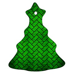 Brick2 Black Marble & Green Brushed Metal (r) Ornament (christmas Tree)